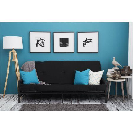 "Mainstays Fairview Storage Arm Futon with 6"" Mattress, Black - Walmart.com"