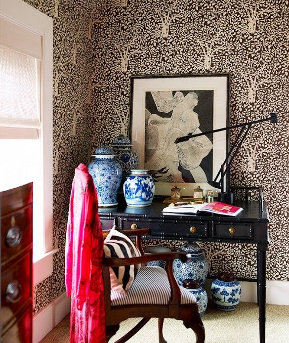 11 best images about designer patrick mele on pinterest for Black and cream wallpaper