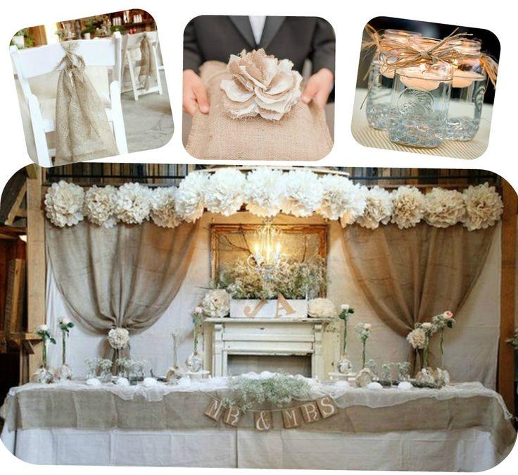 Burlap table decoration ideas elitflat burlap and lace wedding ideas pinterest wedding junglespirit Choice Image