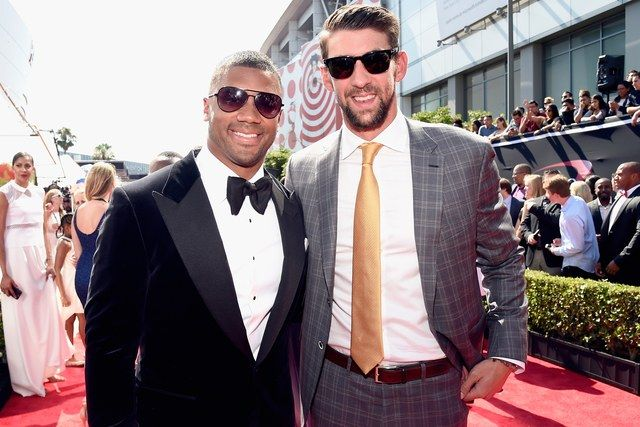 2017 ESPYS Awards - Michael Phelps and Russell Wilson at the entrance of the ESPYS Awards Red Carpet.