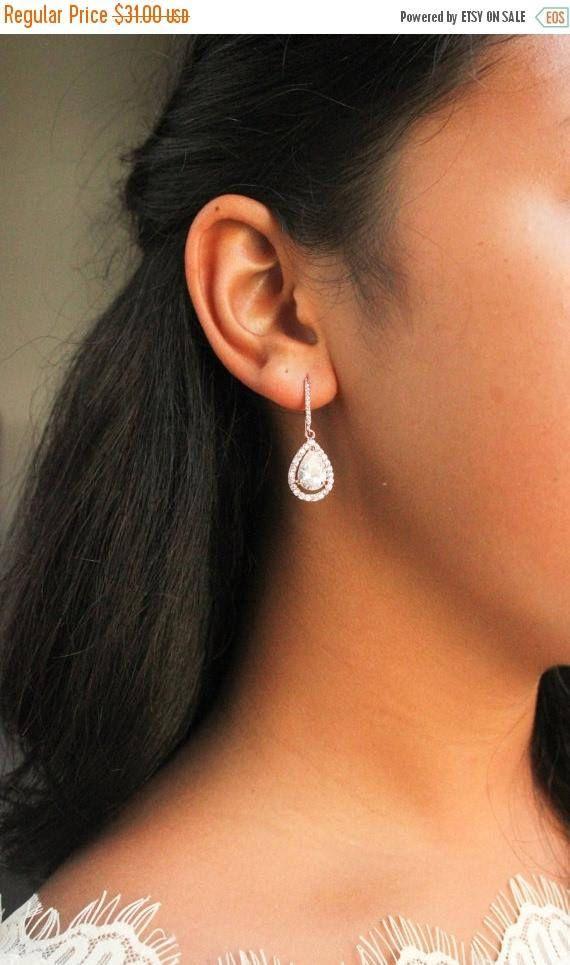 Bridal Earrings Rose Gold Earrings Rose Gold Drop Earrings