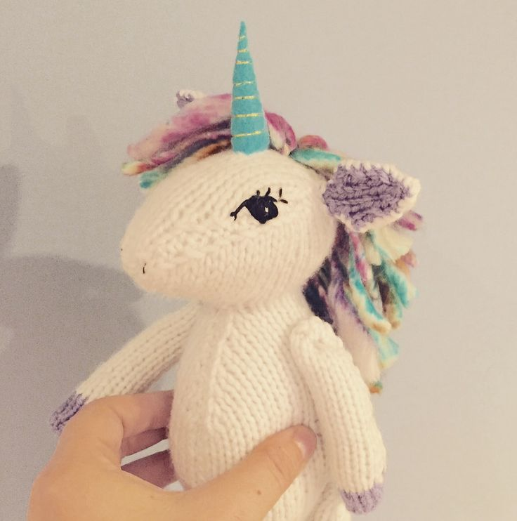 Handmade, knitted unicorn toy from Only One