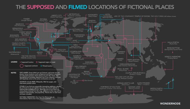 """Fictional places from Oz to Loompaland — the filmed and """"actual"""" locations mapped!"""