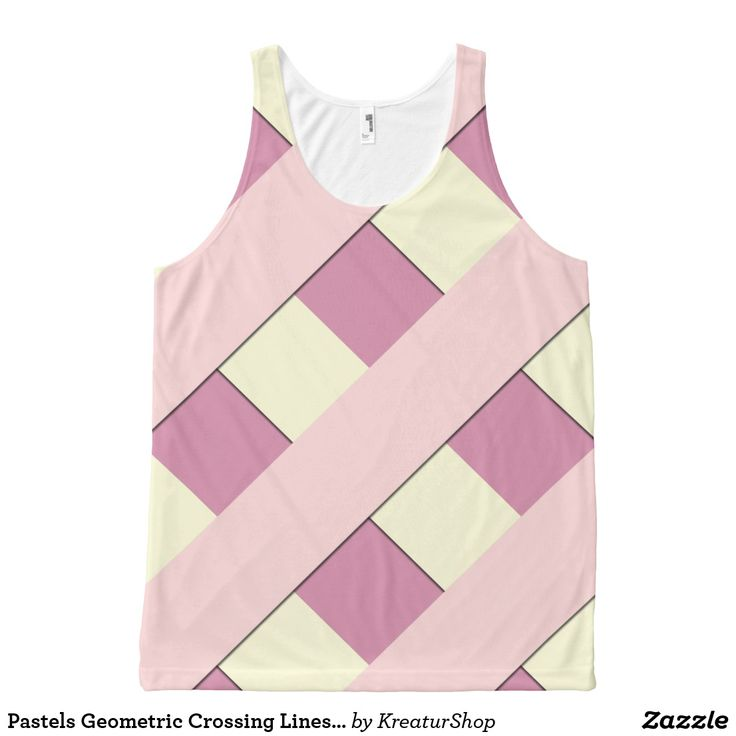 Pastels Geometric Crossing Lines on any Color Tank Top