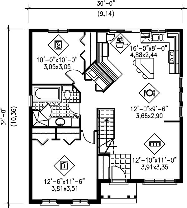 Ranch house plan 49421 level one main floor laundry for Houseplans com discount code