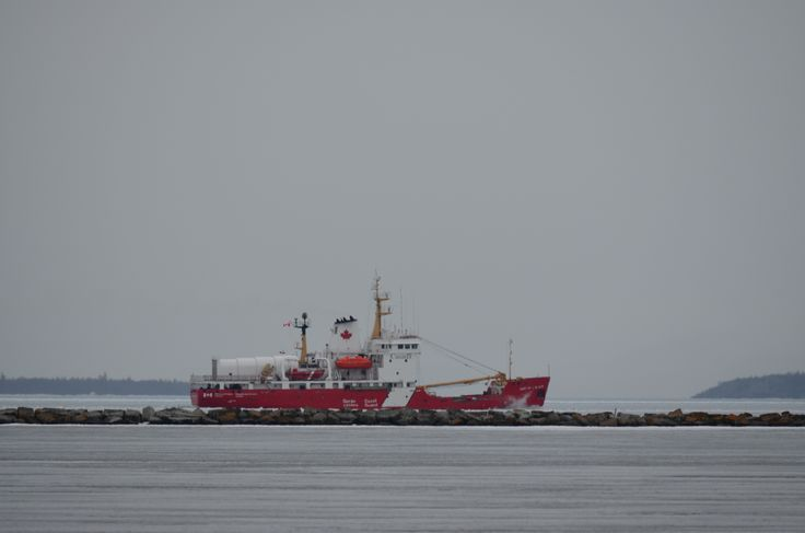 The Canadian Coast Guard Icebreaker the Martha L Black cutting ice this morning outside the break wall in Thunder Bay...May 3rd 2014.