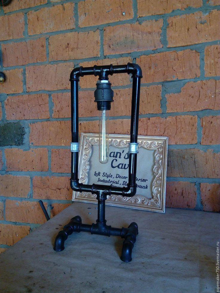 """Купить Лампа стимпанк из водопроводных труб """"Петля"""" - черный, лампа, лампа эдисона, трубы, стимпанк"""