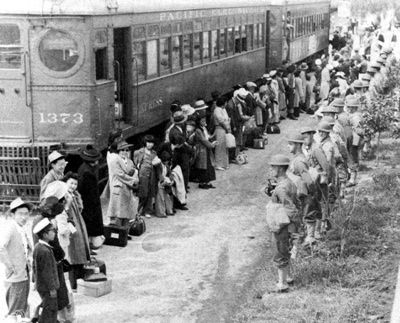 Roughly a hundred thousand Japanese-Americans ended up in camps. U.S. President Franklin D. Roosevelt signs Executive Order 9066 on February 19, uprooting Japanese Americans on the west coast to be sent to Internment camps. The order led to the internment of Japanese Americans or AJAs (Americans of Japanese Ancestry) in which some 120,000 ethnic Japanese people were held in internment camps for the duration of the war.
