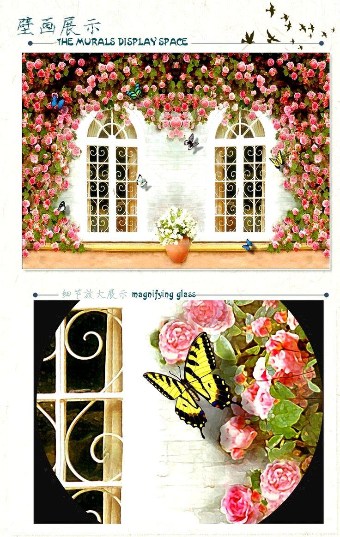 美容院养生馆 欧式3D立体 墙纸 壁纸 文艺清新田园玫瑰花大型壁画-淘宝网
