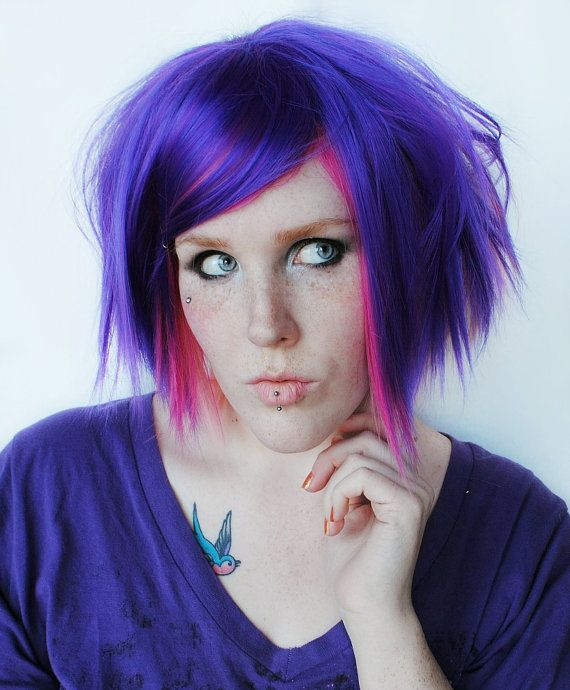 Candyland // Purple Passion and Pink Strawberry Hair // Straight Medium Short Scene Emo Wig