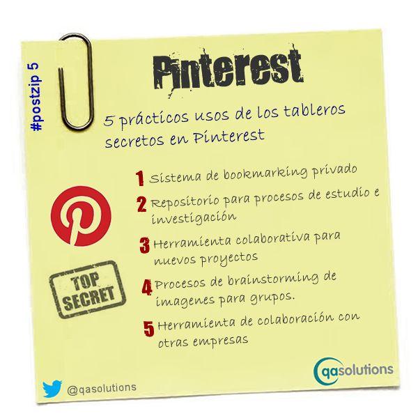 5 usos de los tableros secretos de Pinterest #infografia