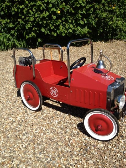childrens classic red fire engine pedal car