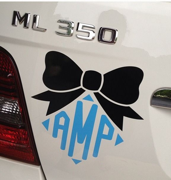 Cute monogram and bow sticker for your car