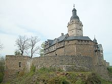 Falkenstein Castle (German: Burg Falkenstein) is a German castle in the Harz mountains dating to the High Middle Ages period. It is located in the town of Falkenstein/Harz between Aschersleben and Harzgerode.
