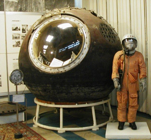 The Vostok 1 capsule and the spacesuit worn by Yuri Gagarin.   First man in space.