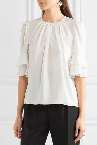 Giambattista Valli Ruffled silk top $1065