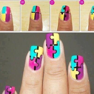 Nail Art Puzzle Nail tutorial paso a paso