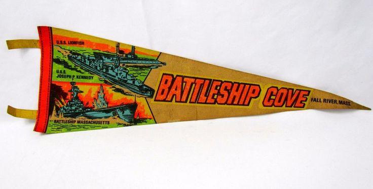 Vtg Battleship Cove Pennant Flag Banner Fall River, Massachusetts Souvenir MA