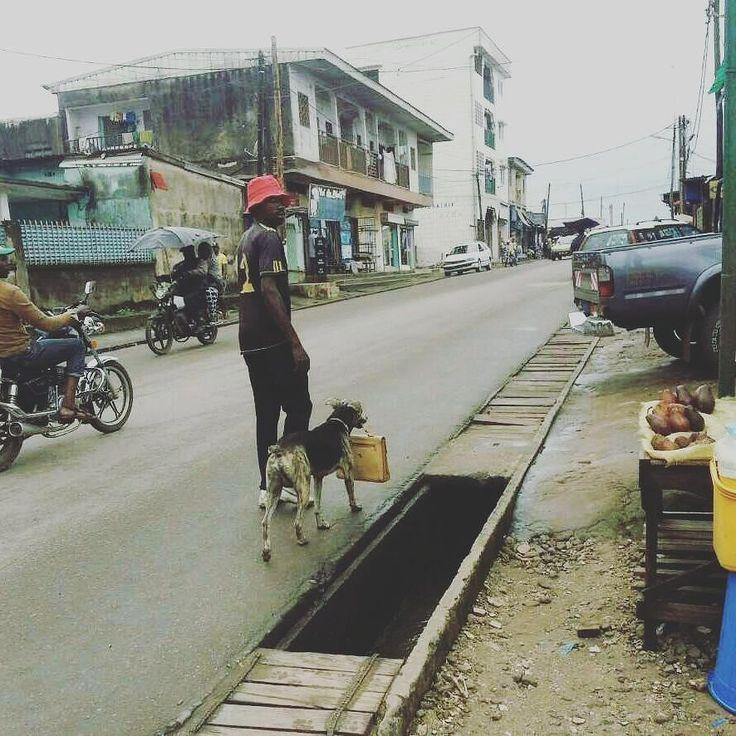 #PostPic - #Douala Bependa ce jeune homme exerçant le métier de #Marabout se balade avec son #chien dressé à porter son sac et a faire d'autres taches...