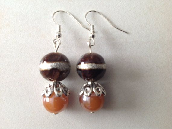 Brown Glass Beaded Earrings Chocolate Glass by EverGracefulGifts
