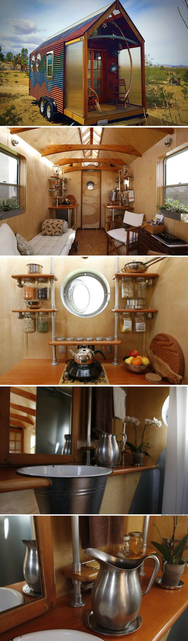 NOMAD: a 100 sq ft tiny house made from found objects and recycled wood