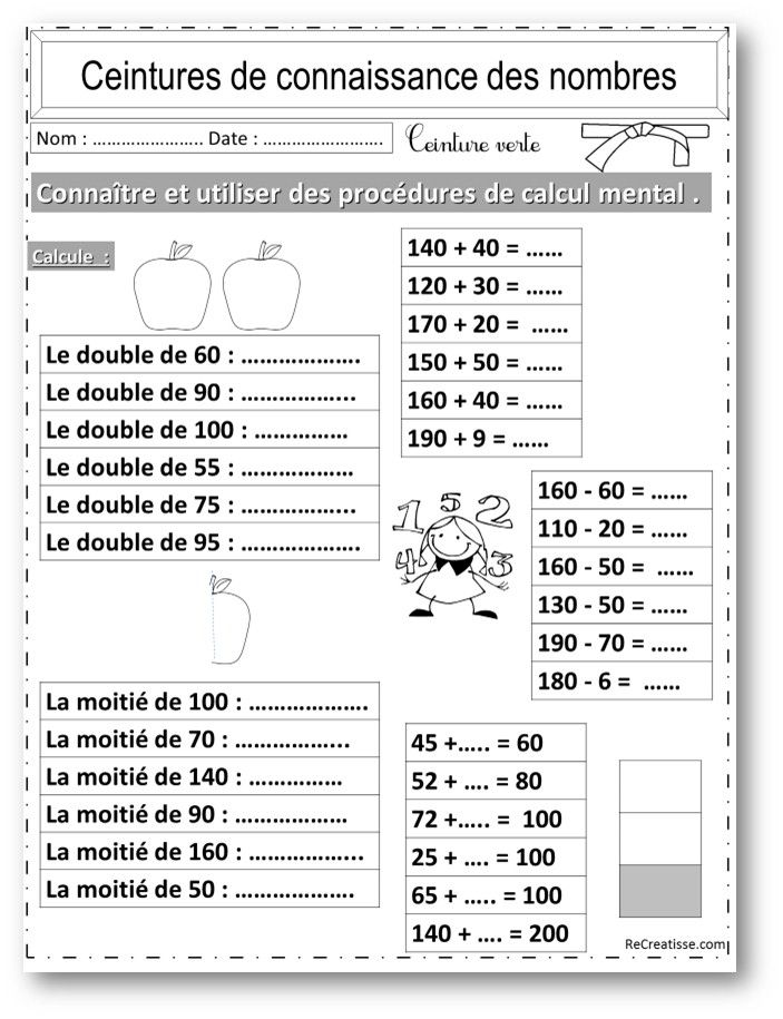 NUMERATION : ceintures connaissance des nombres et calcul ...