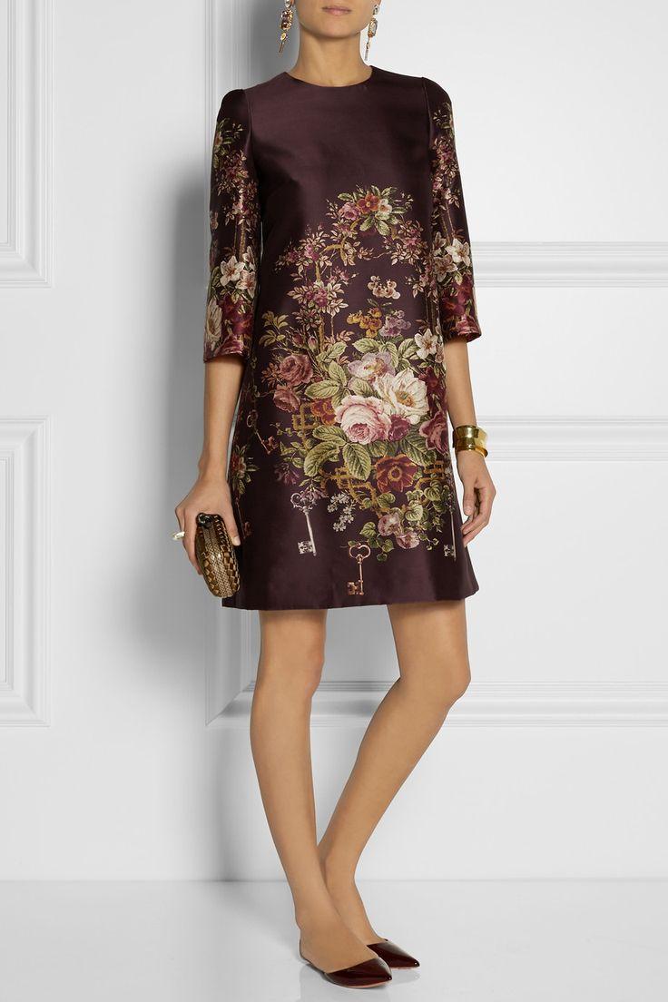 Dolce & GabbanaMini-robe en soie et laine mélangées imprimée