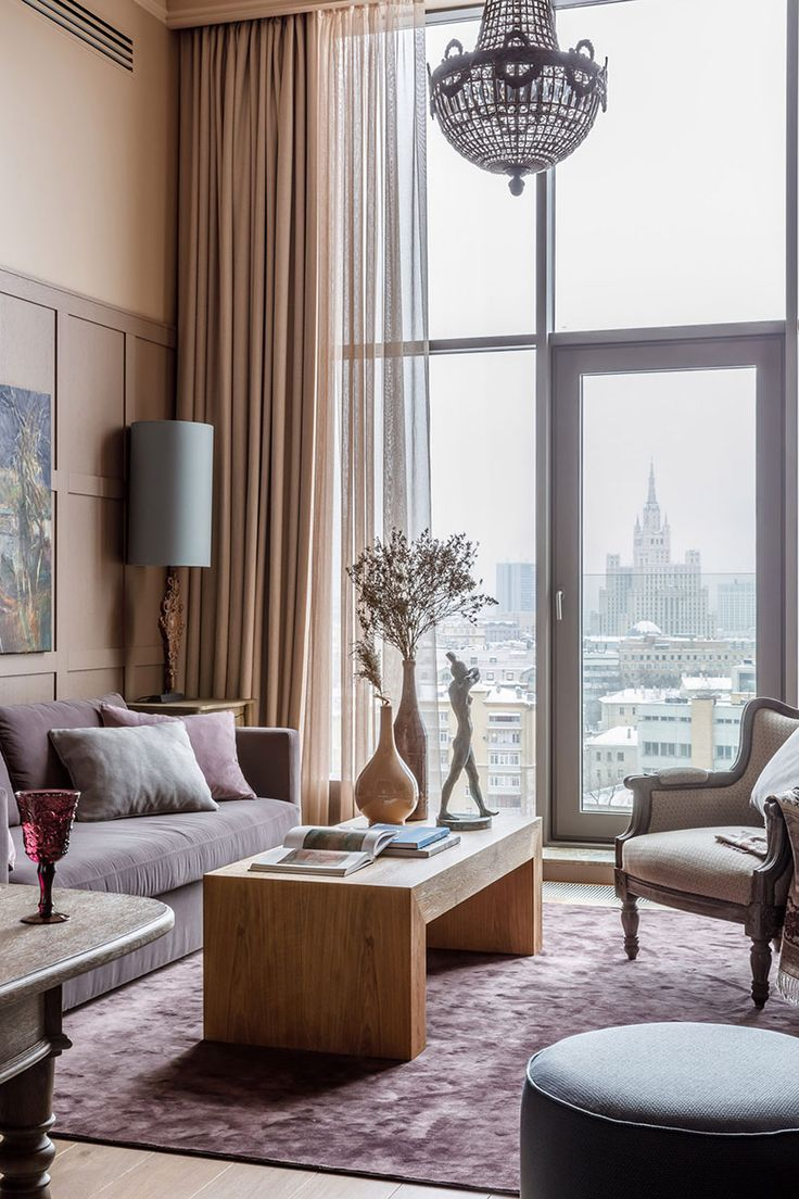 Beautiful Apartment With High Ceilings Near Triumph Square In Moscow 80 Sqm Foto Idei Dizajn Curtains Living Room Trendy Living Rooms Brown Living Room