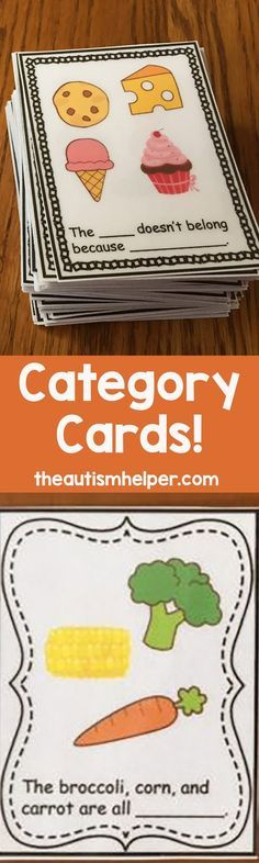 """Check out these Category Cards! The set contains 72 """"Name that Category"""" cards and 72 """"What Doesnt Belong"""" cards. From theautismhelper.com"""