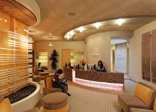 Reception area at the cisco lifeconnections health center - San diego interior design center ...