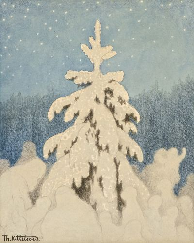 Theodor Kittelsen (Norwegian, 1857-1914) Juletre (Christmas Tree), n.d. Pencil, pastel and aquarelle on paper, 32,5x26cm  Private collection