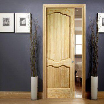 Single Pocket Louis Clear Pine Door. #interior #living #beautiful #home