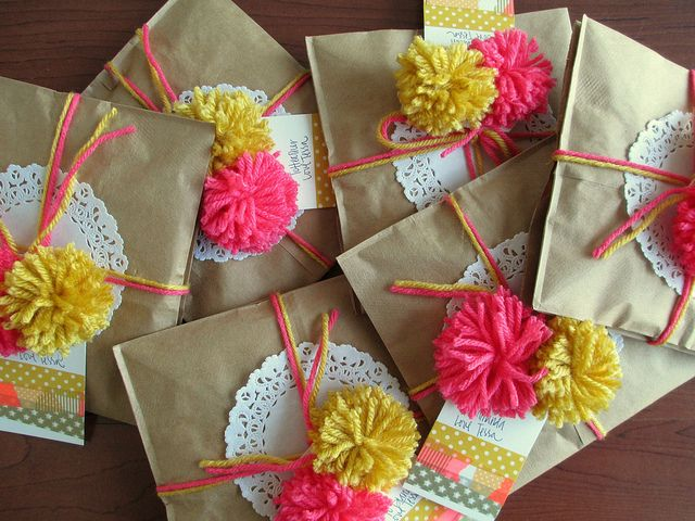 washi tape and pom poms packaging!