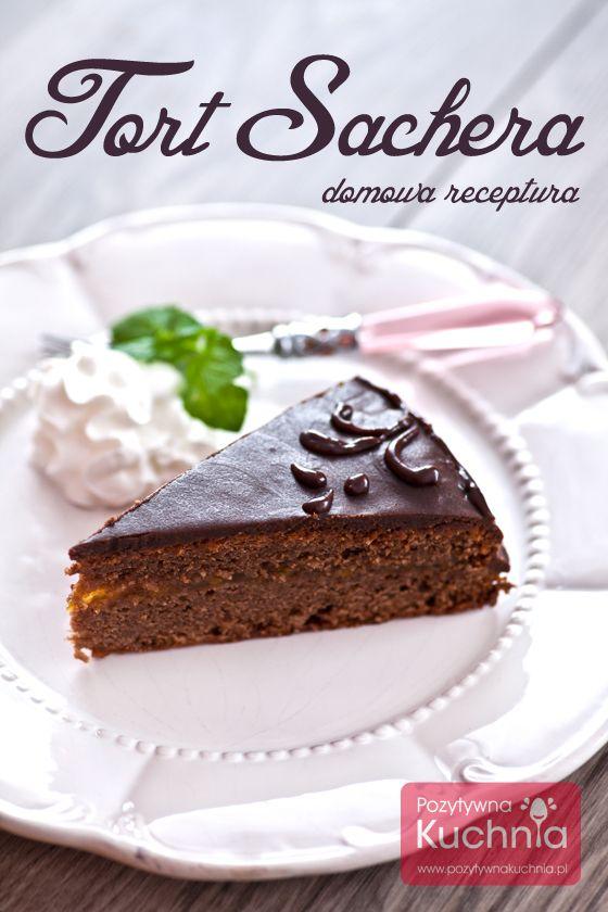 Sachertorte czyli #tort Sachera - domowa receptura. Pyszny tort czekoladowy z konfiturą morelową i polewą z czekolady.  http://pozytywnakuchnia.pl/tort-sachera/  #przepis #czekolada