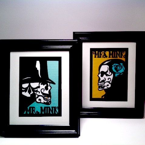 2 8x10 Cut Paper Sugar Skull Day of the Dead Framed - Customize Color Mr Mrs via Etsy