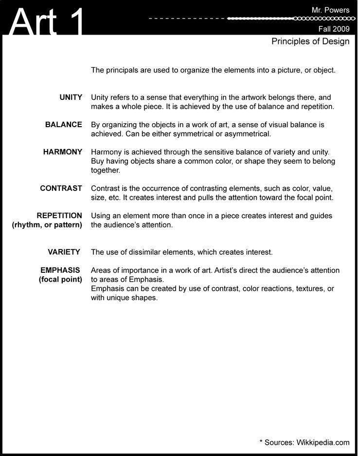 Best Elements And Principles Of Art  Design Worksheets Images