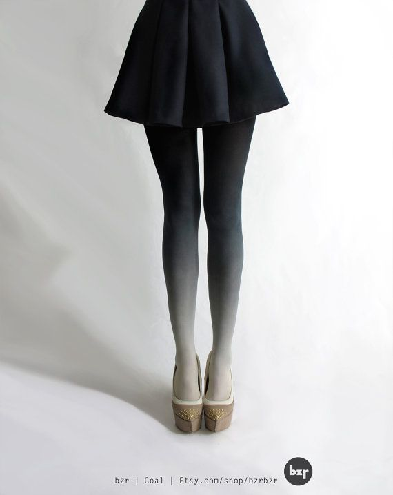 BZR Ombré tights in Coal by BZRshop on Etsy, $50.00: Shoes, Bzr Ombré, Style, Skirts, Clothing, Ombré Tights, Ombre Tights, Cute Tights, Bzr Tights