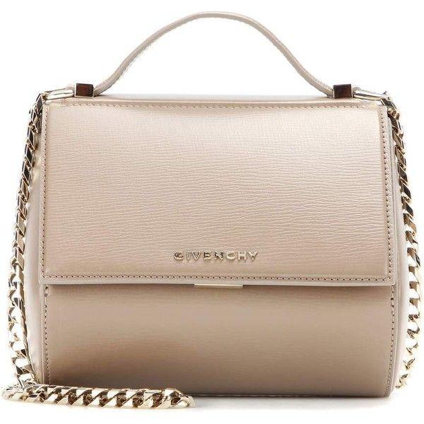 Givenchy Pandora Box Chain Leather Shoulder Bag (8.720 RON) ❤ liked on Polyvore featuring bags, handbags, shoulder bags, bolsas, sacs, beige, beige purse, pink purse, leather shoulder handbags and genuine leather handbags