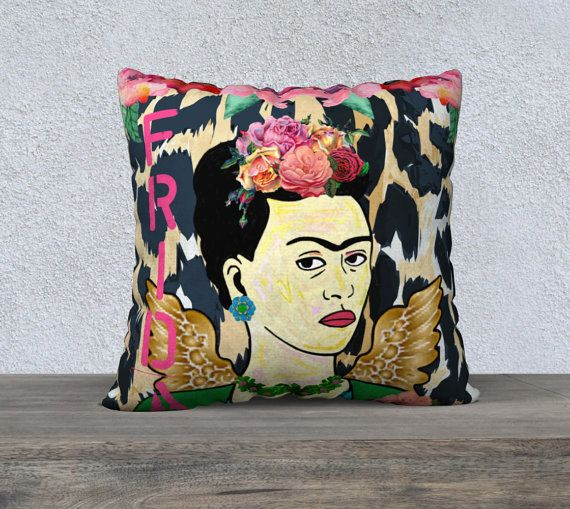 Large Frida Kahlo with Wings Leopard Print Velveteen by nantulov