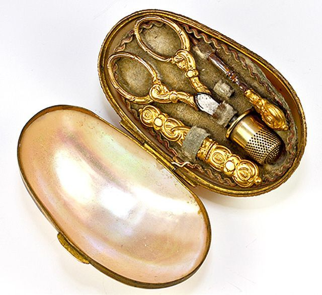 Antique Mother of Pearl Brass Sewing Kit  #MYVIBEMYPEARL