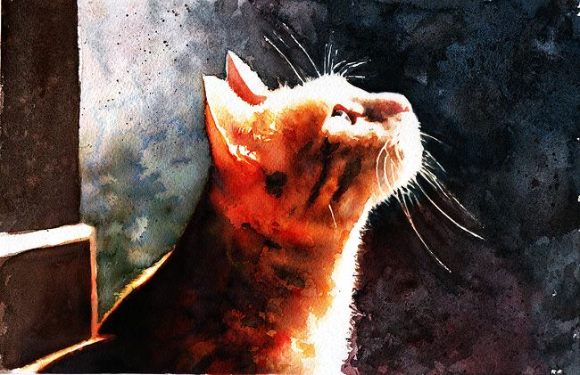 """Alley Cat""  Original watercolor painting by Alex Carter"
