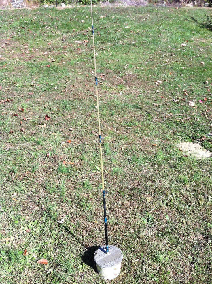 Broken fishing pole set in concrete for a garden trellis for How to fix a broken fishing rod