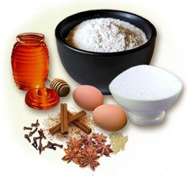 Пряник: 1 кг муки  500 гр сахара в пудру  6 яиц  200 гр. меда  18 гр пищевой соды  125 гр маргарина , специи.