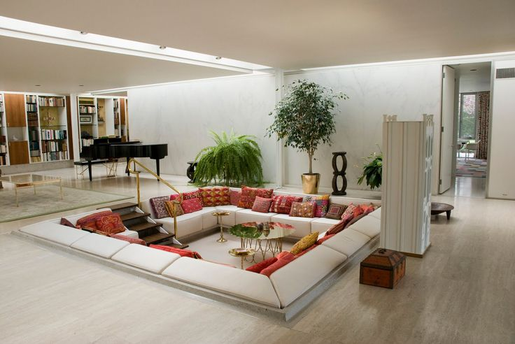 """""""Miller House"""": Built in 1957 for J. Irwin Miller, this mid-century modern home features a sunken conversation pit, predating the cool 70's staple by more than a decade; Columbus, Indiana 