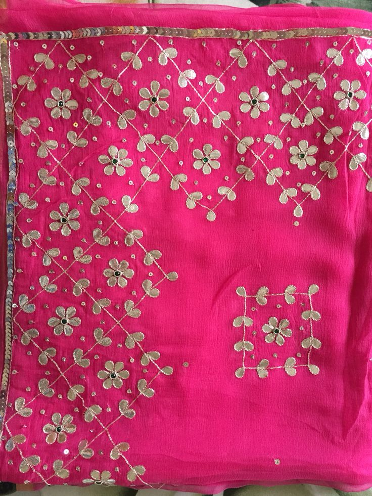 The unique designer saree by krishnam # gota pati work# beautiful colours c # material is single diamond chiffon saree with silver silk blouse # ₹5500/- + shipping in India Krishnajadejagohil28@gmail.com
