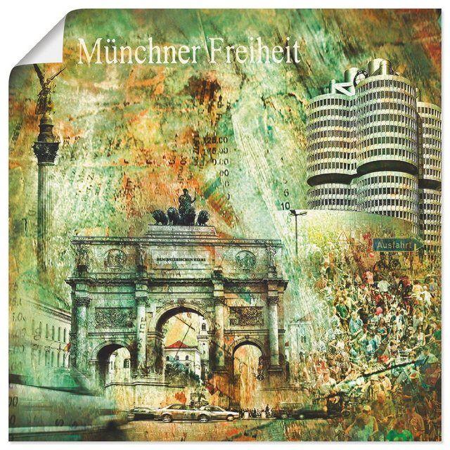 Kunstdruck Poster »Nettesart: München Skyline Abstrakte Collage 03«