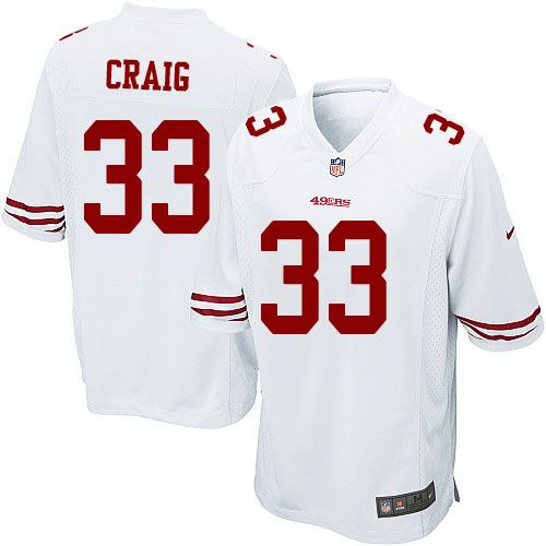 $24.99 Nike Elite Roger Craig White Youth Jersey - San Francisco 49ers #33 NFL Road