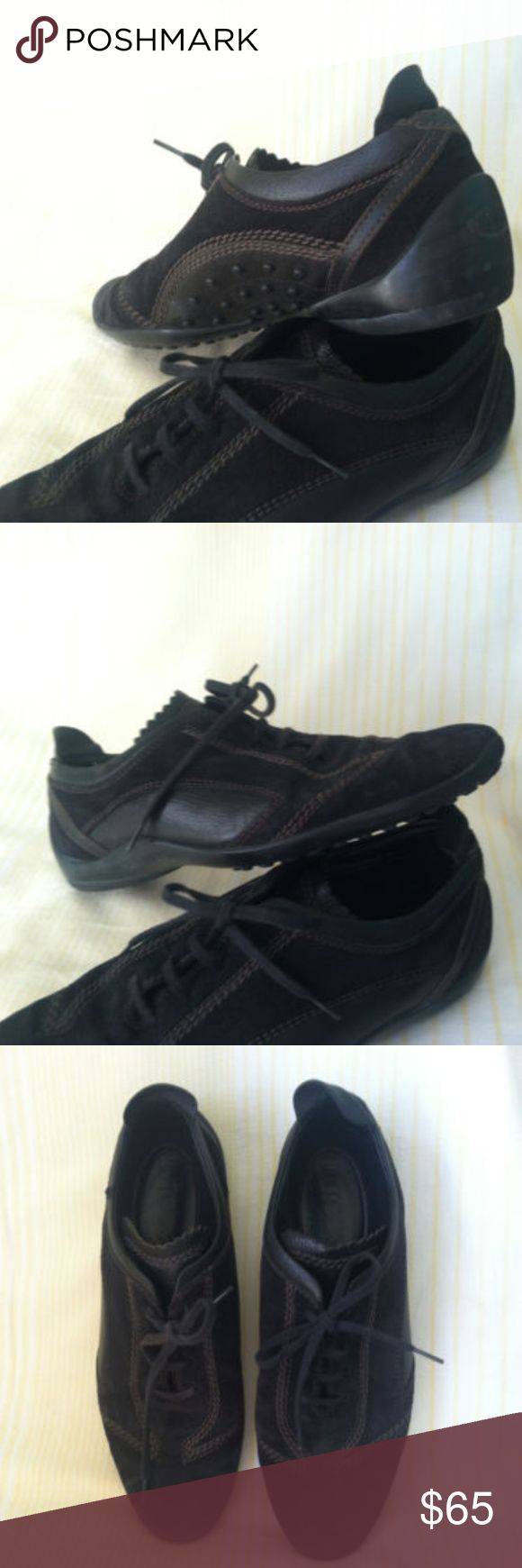 TOD'S Leather Suede Fashion Sneakers Great used condition.  TOD'S Women's size 7 (EU 37) Black Suede Driving Loafers Flat Shoes Fashion Sneakers. Black leather trim, brown stitching. Comfort casual gorgeous!  MADE IN ITALY. Tod's Shoes Sneakers