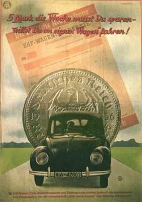 """Literally meaning """"People's Car"""", this vehicle was presented as a car that every German citizen could afford to buy. It was based on the advice of Hitler to the designer, saying that it should resemble a beetle. The car was a huge success (it was made available to citizens of the Third Reich through a savings scheme at 990 Reichsmark, about the price of a small motorcycle), but toward the end of the war resources were low and public availability declined."""