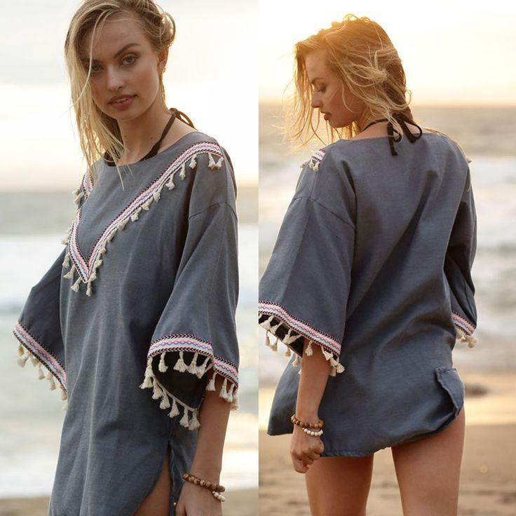 Women Bohemian Dark Denim Tribal Cover Up Tassel Poncho Wrap Shawl 100% Cotton